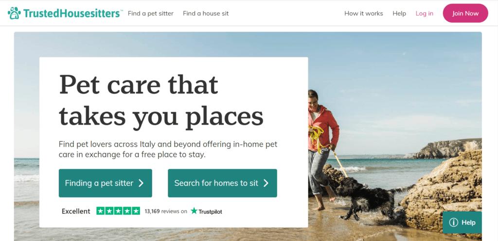 Homepage della piattaforma Trusted Housesitters